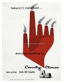 Industry's Right Hand - press advert designed by George Brzezinski  for Coventry Climax Engines Ltd, UK,  1958