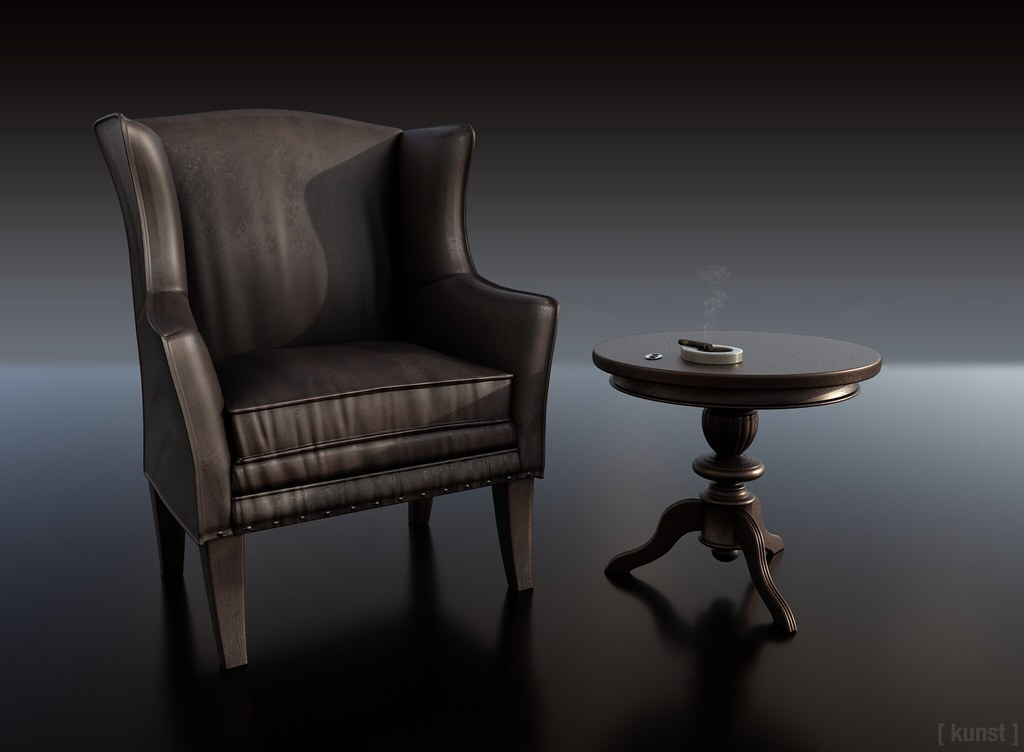 [ kunst ] – Darius armchair, table & cigar ashtray