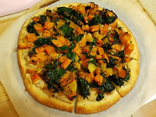 Butternut Squash, Caramelized Onion, and Apple Pizza