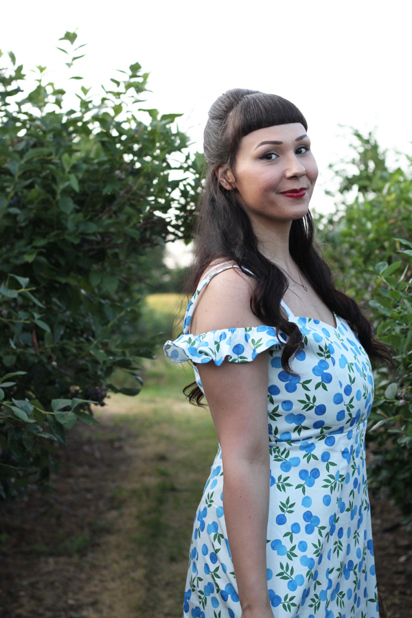 blueberry print dress