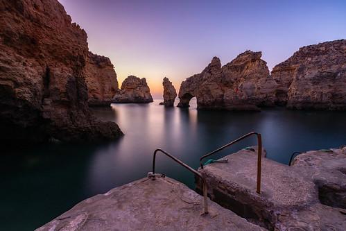 portugal algarve lagos pontadapiedade sunrise seascape sea longexposure sky rockformations rocks cliffs