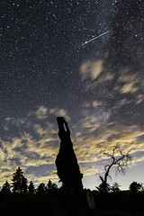 Meteor, Milky Way (obscured a bit by clouds), and Trees in Mount Laguna