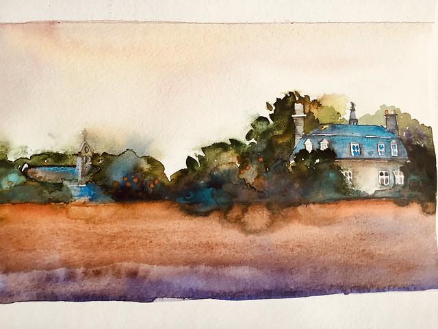 Été 19, Champeaux, le château, l.eglise au loin