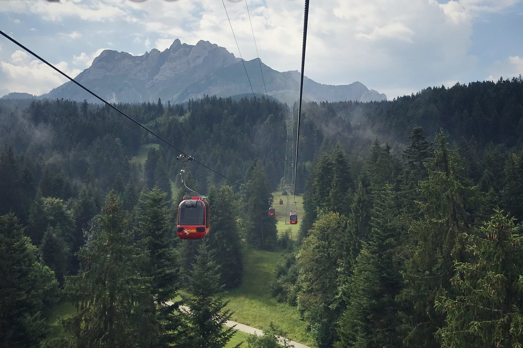 Cable car lines at the base of Mount Pilatus