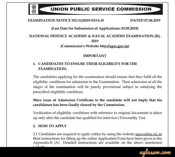 UPSC NDA 2 Notification