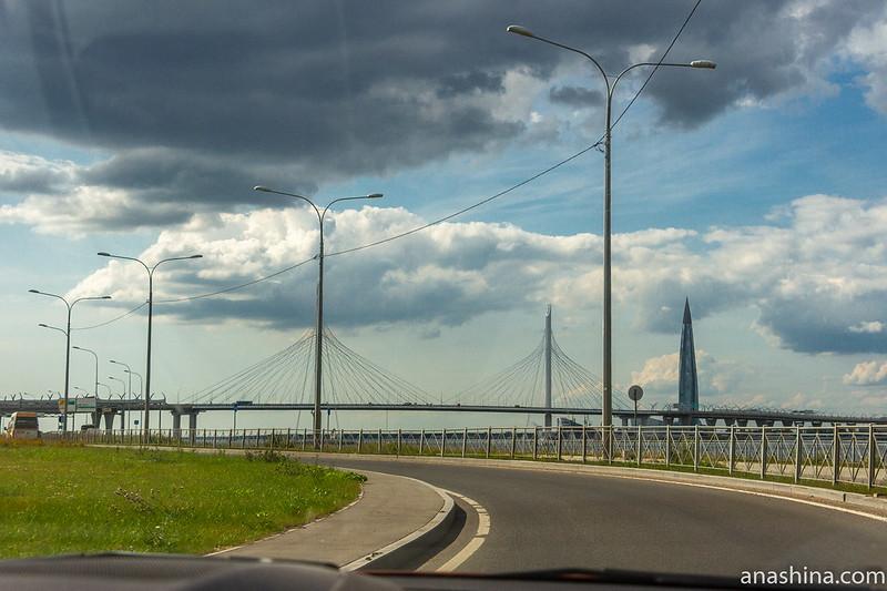 Вантовый мост через Петровский фарватер и Лахта-центр, Санкт-Петербург