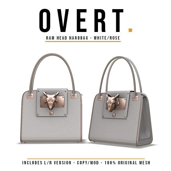 Overt. Ram Head Handbag – White Rose Advert