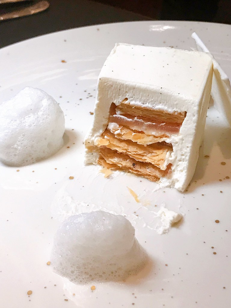Crispy layers inside the White Mille Feuille