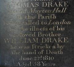 'being called to London by the illness of his beloved brother, he was stricken by the hand of death': Thomas Drake, 1810