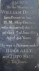 'late purser on board HM Ship Centaur... he was a prisoner under Hider Ally and Tippo Saib ten years': William Drake, 1810