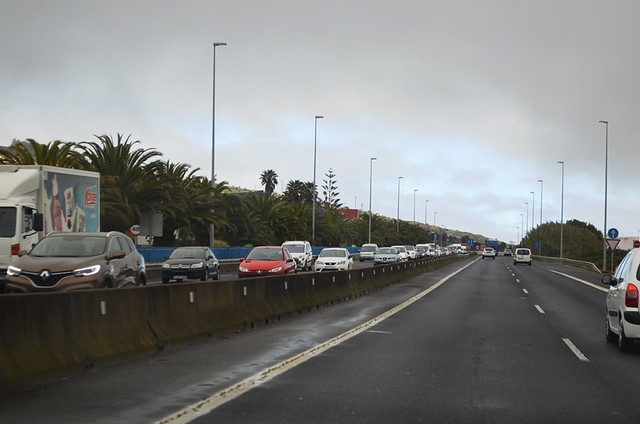 Traffic heading into La Laguna, Tenerife