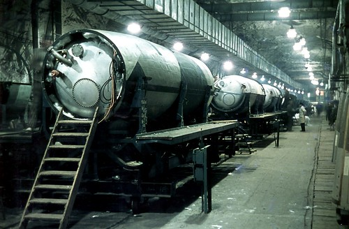 V-2 rocket fuel tanks on an assembly line in   tunnel B of the Dora-Mittelbau underground plant 1944.