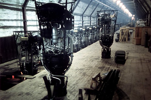 (V-2) rocket engines in an assembly workshop at the Mittelwerke underground secret factory in a mountain range near Nordhause 1944