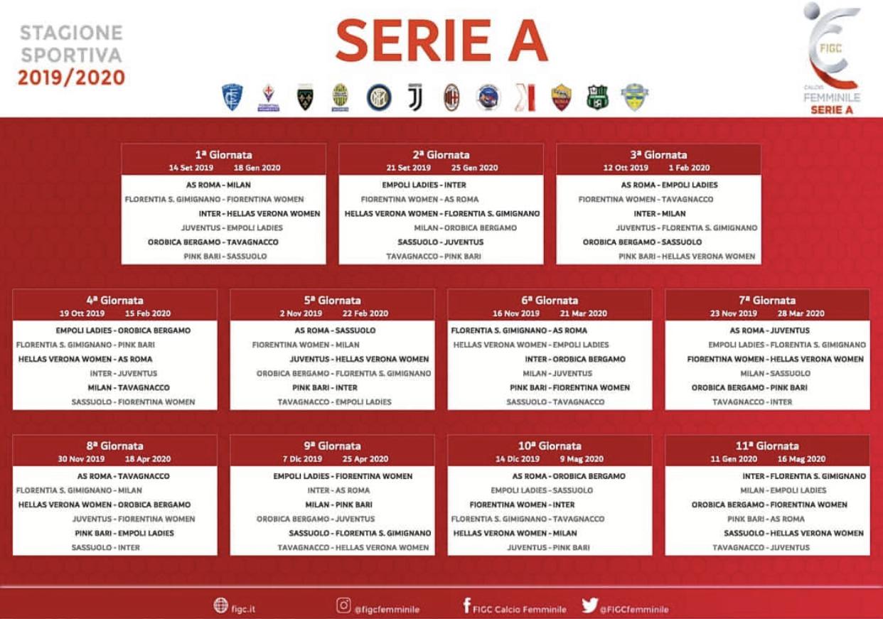 Calendario Serie A 19 20 Ultima Giornata.Serie A Femminile 2019 20 Il Calendario Completo Hellas Live