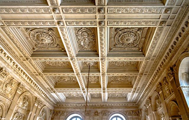 Ceiling artwork of Versailles Palace, France--83