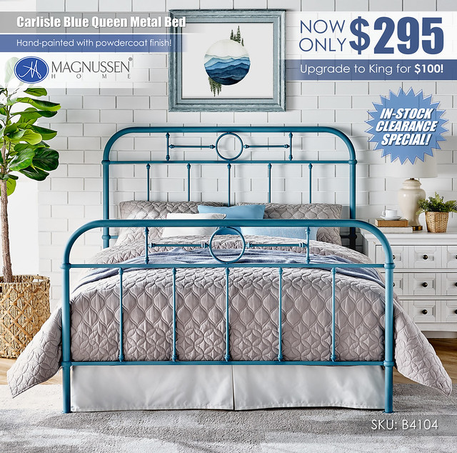 Carlisle Blue Queen Metal Bed_B4104_Clearance