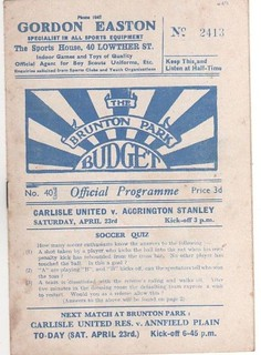 1948-49 CARLISLE UNITED v ACCRINGTON STANLEY 23rd April 1949 | by cumbriangroundhopper