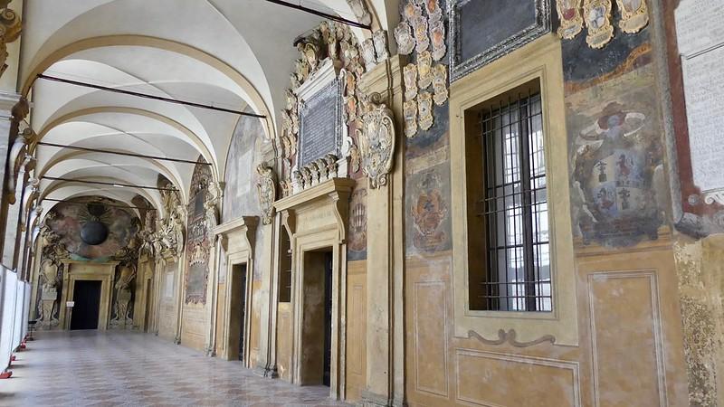 Italie, Bologne, via Dell'archiginnasio, Palazzo dell'Archiginnasio, site de l'Université de Bologne du XVIe au XVIIIe siècle, décorations du palais