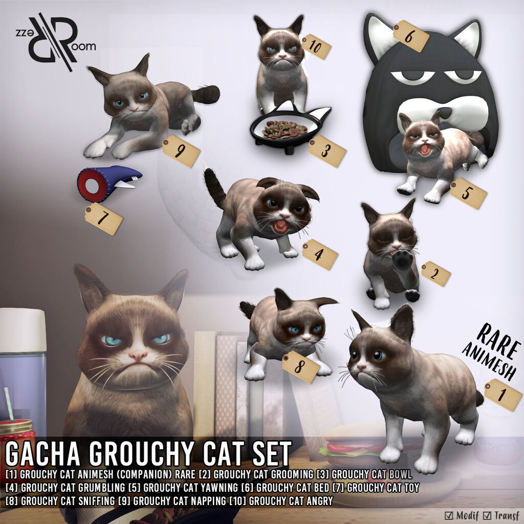 [Rezz Room] Vendor Gasha Grouchy Cat Set - TeleportHub.com Live!