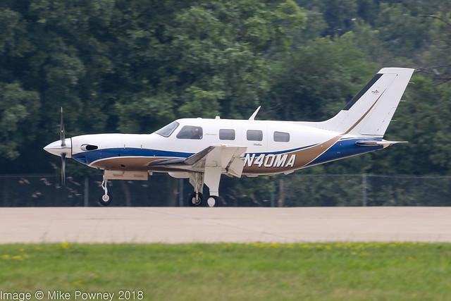 N40MA - 2008 build Piper PA-46-500TP Malibu Meridian, arriving on Runway 36R at Oshkosh during Airventure 2018