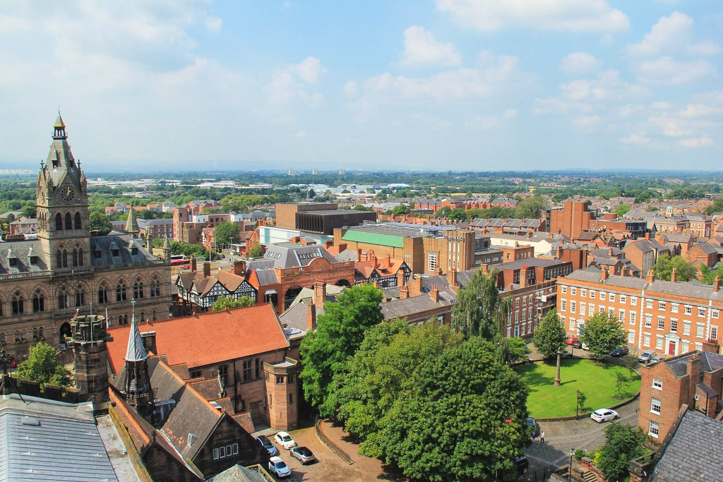 View of Chester from the top of the cathedral tower