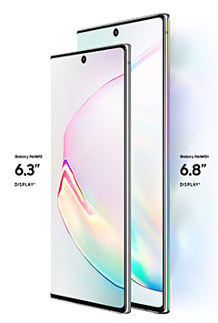 The Samsung Galaxy Note10 and Note10+ phablets.