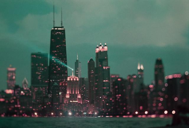 Chicago Skyline in LomoChrome Purple