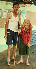 man with his grandmother