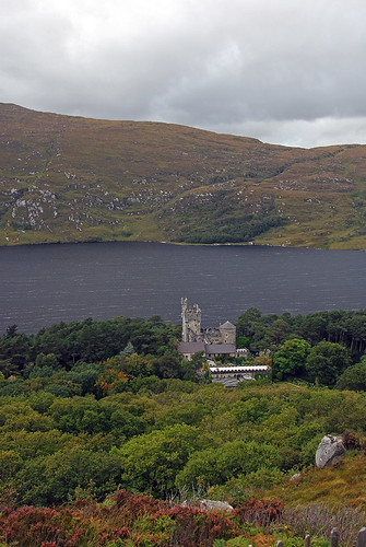 A view of the Lake and the Castle from above in Glenveagh National Park in Ireland