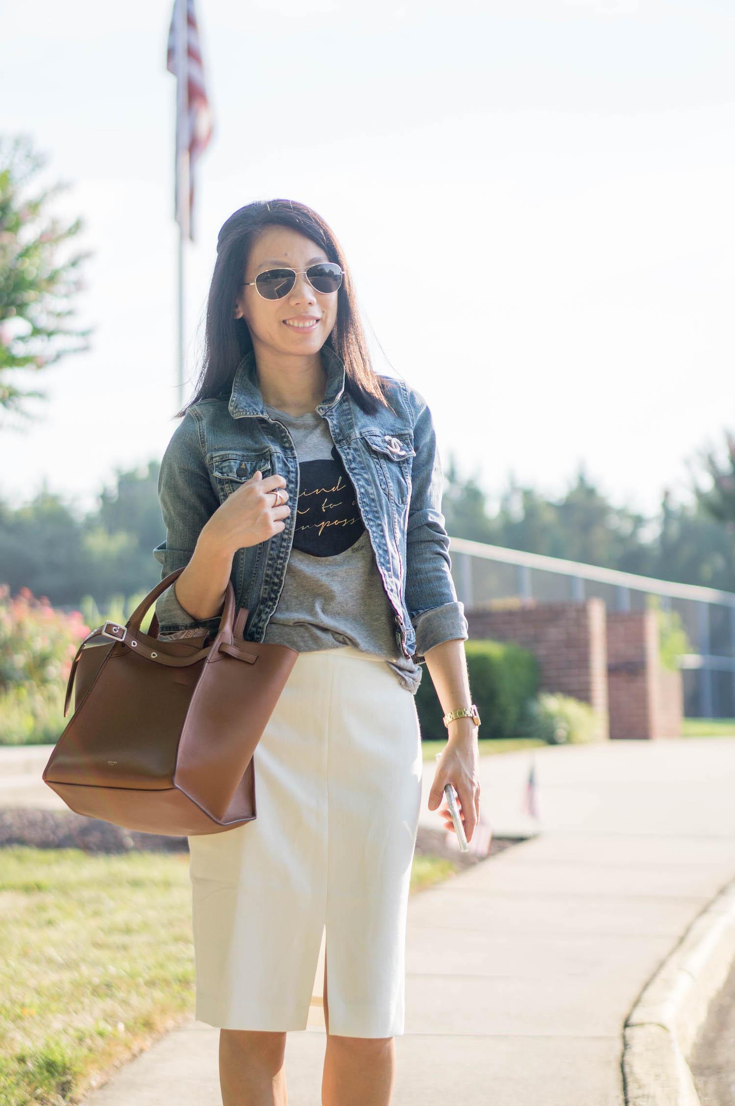 Chanel 18P crystal/pearl brooch, denim jacket, Celine small big bag, Ann Taylor front slit pencil skirt, Olivia Burton gold watch