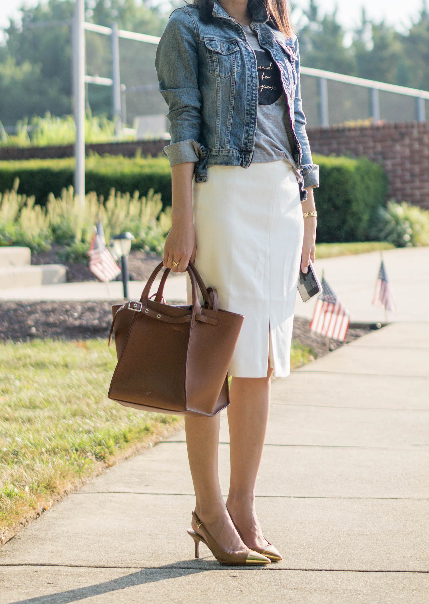 Chanel 18P crystal/pearl brooch, denim jacket, Celine small big bag, Ann Taylor front slit pencil skirt, Olivia Burton gold watch, Tory Burch Penelope metallic cap-toe slingback pump