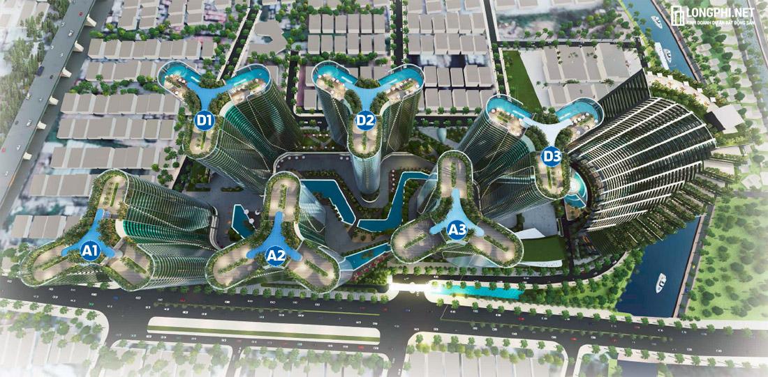 Mặt bằng các khối tòa nhà A1, A2, A3, D1, D2, D3 tại Sunshine Diamond River.