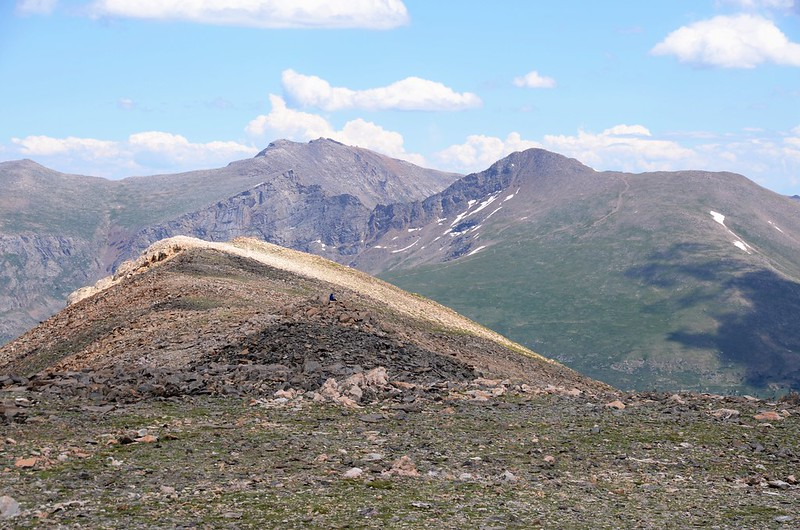 Looking east at Mount Bierstadt & Evans from Square Top Mountain's summit (1)