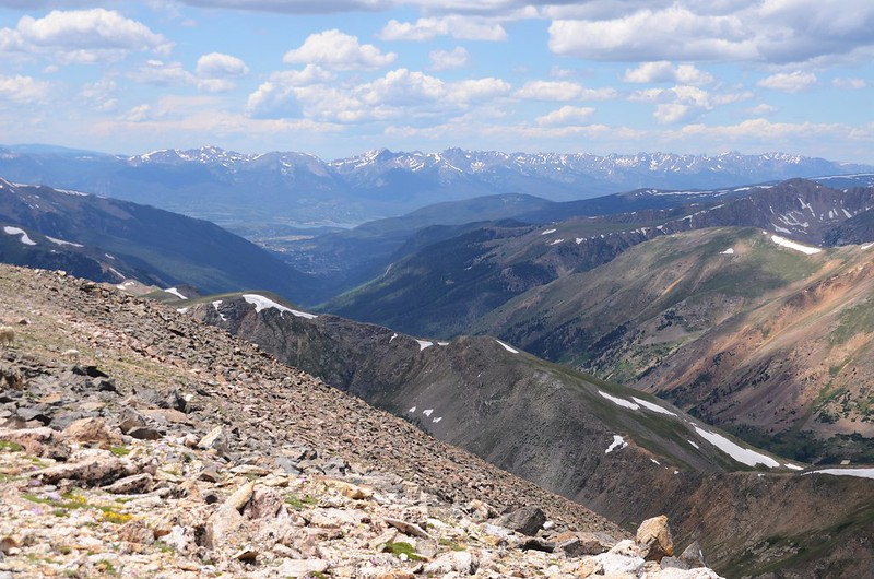 Looking west at Gore Range from  Square Top Mountain's summit