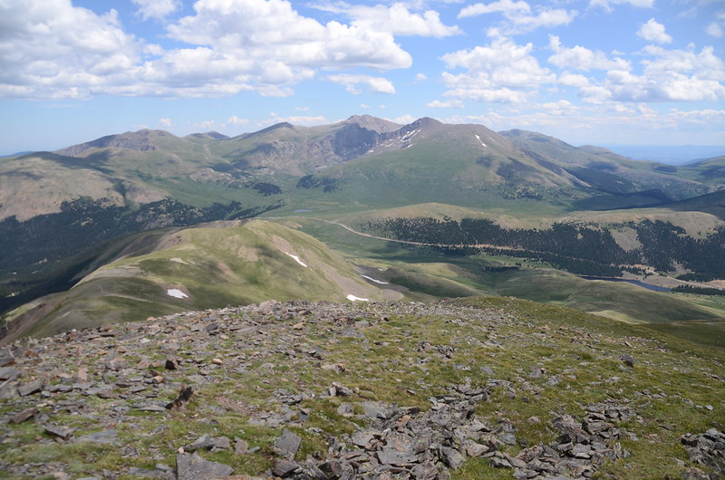 Looking east down to Guanella Pass & mountains from  Square Top Mountain's east side highest point