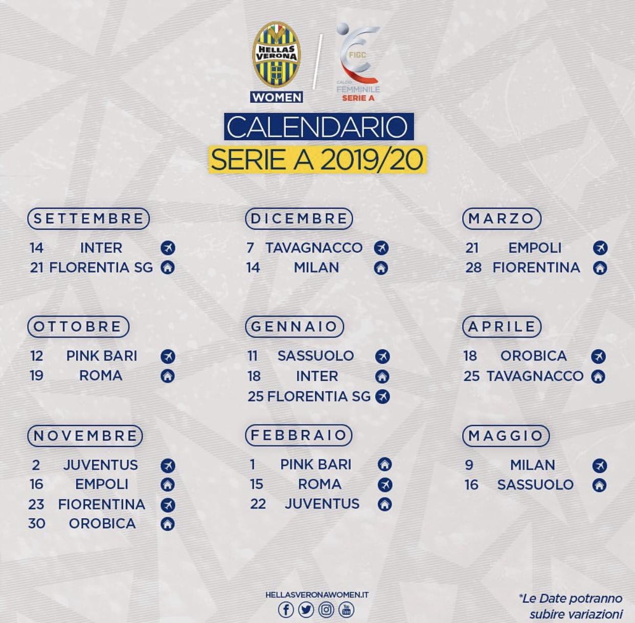 Calendario Verona.Hellas Verona Women Il Calendario Completo Della Serie A
