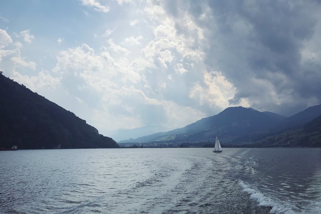 Lake Lucerne with sailboat