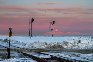Moonset over the Alaska Range