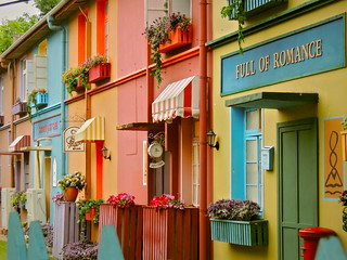 Colorful vintage facades in public park of Hefei