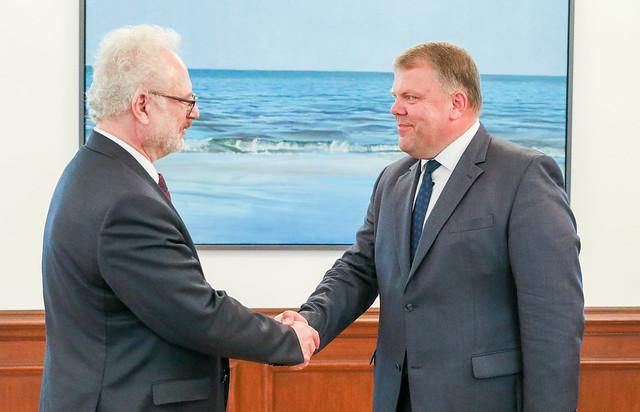 Valsts prezidenta Egila Levita tikšanās ar Latvijas Pašvaldību savienības priekšsēdi Gintu Kaminski