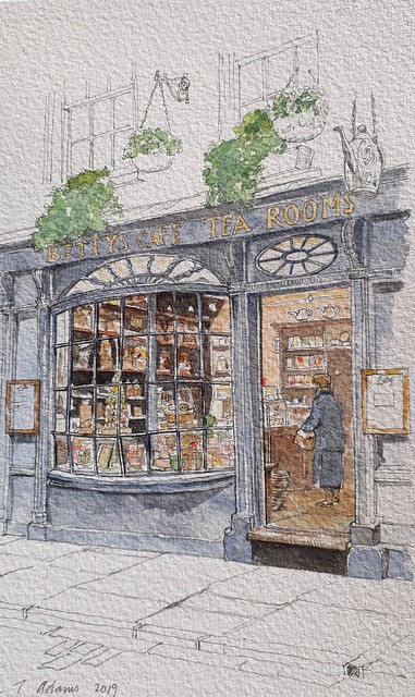 Betty's Cafe and Tea Shop, Stonegate, York (#DrawingAugust, day 7)