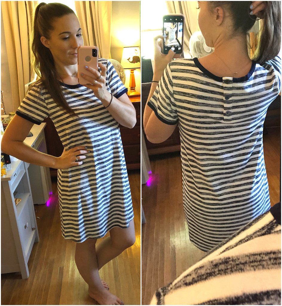 Navy and white striped tee shirt dress