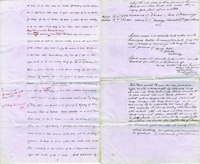 Draft Indenture for sale of Copyhold Land between Robert Grix, Richard Saunders, Elizabeth Amy, nee Grix, Saunders, and others, Alysham, Norfolk and Hillingdon, Middlesex, 1874 p7-8