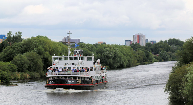 7th August 2019. Royal Iris on the Manchester Ship Canal at Barton-upon-Irwell, Greater Manchester