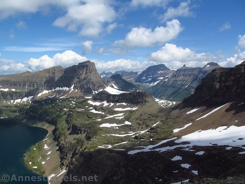 Looking back toward Logan Pass from the Reynolds Mountain Trail in Glacier National Park, Montana