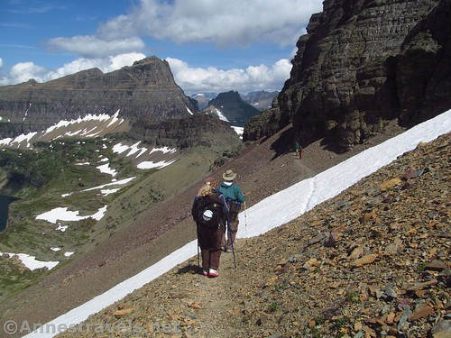 Hiking (back) on the Reynolds Mountain Trail beyond the first pass in Glacier National Park, Montana