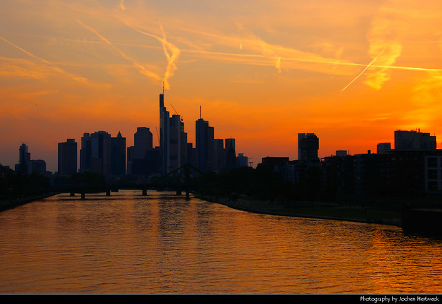 Sunset seen from Deutschherrnbrücke, Frankfurt, Germany