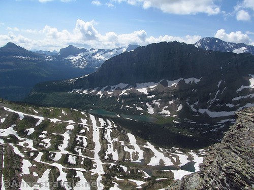 Looking down the valley to the Twin Lakes from the Dragontail in Glacier National Park, Montana