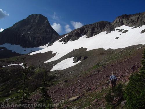 Hiking the Reynolds Mountain Trail toward Reynolds Mountain (left) in Glacier National Park, Montana