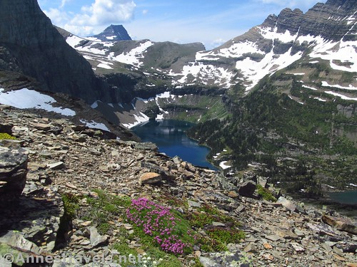 Hidden Lake and surrounding peaks from the first pass on the Reynolds Mountain Trail in Glacier National Park, Montana